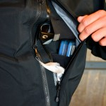 Left Hand Pocket with Sunglasses, Fly Box and Chamois